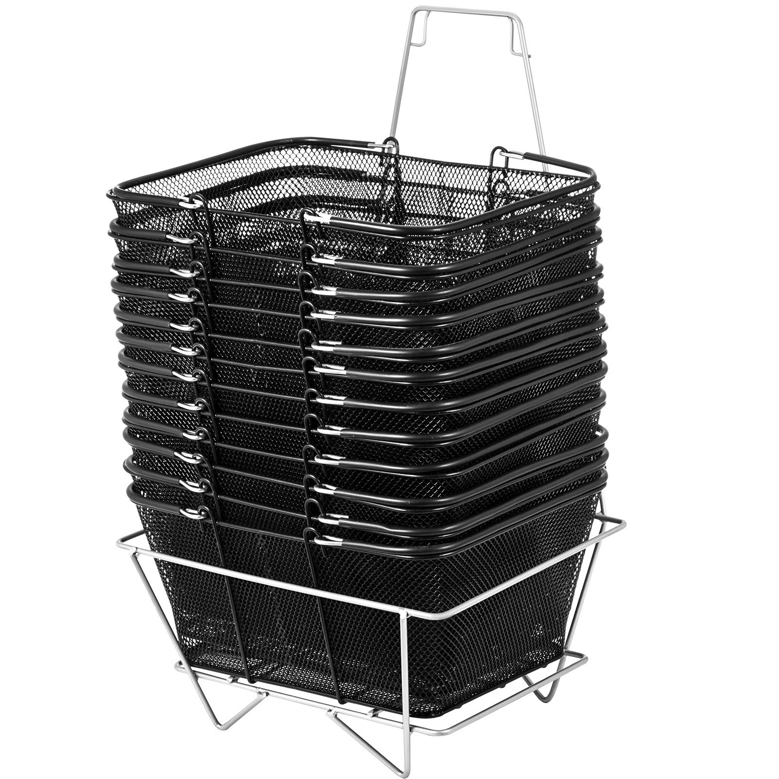 Mophorn Shopping Basket 12PCS Black Wire Basket Metal Shopping Baskets with Handles Black Wire Mesh for Retail Store (16 x 12 x 7 inch, Black)