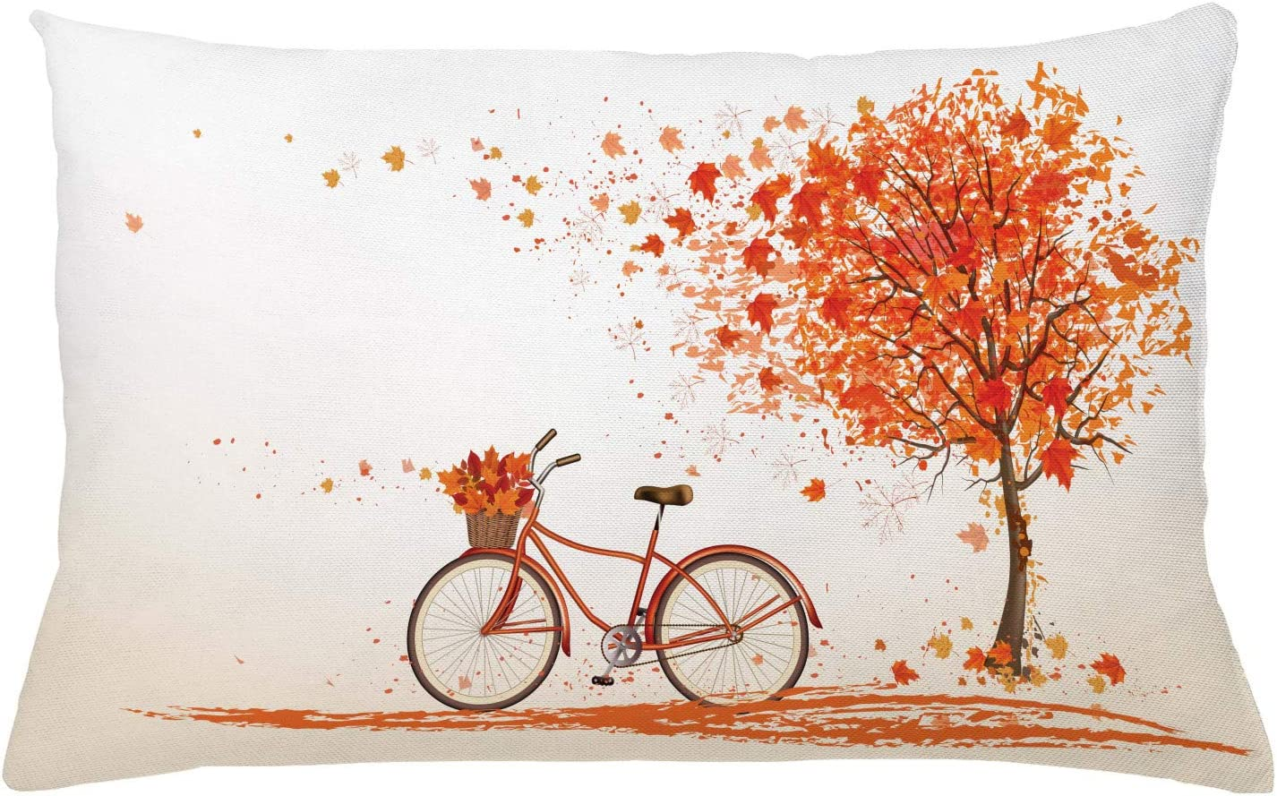 "Ambesonne Bicycle Throw Pillow Cushion Cover, Autumn Tree with Aged Old Bike and Fall Tree November Day Fall Season Park Nature Theme, Decorative Rectangle Accent Pillow Case, 26"" X 16"", Orange"