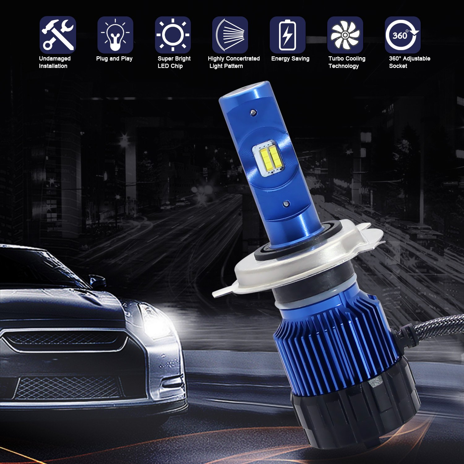 Win Power 9005//HB3 LED Headlight Bulbs All-in-One Conversion Kit-8,000Lm 6000K Cool White CSP High Beam Bulb-2 Yr Warranty 4333022189
