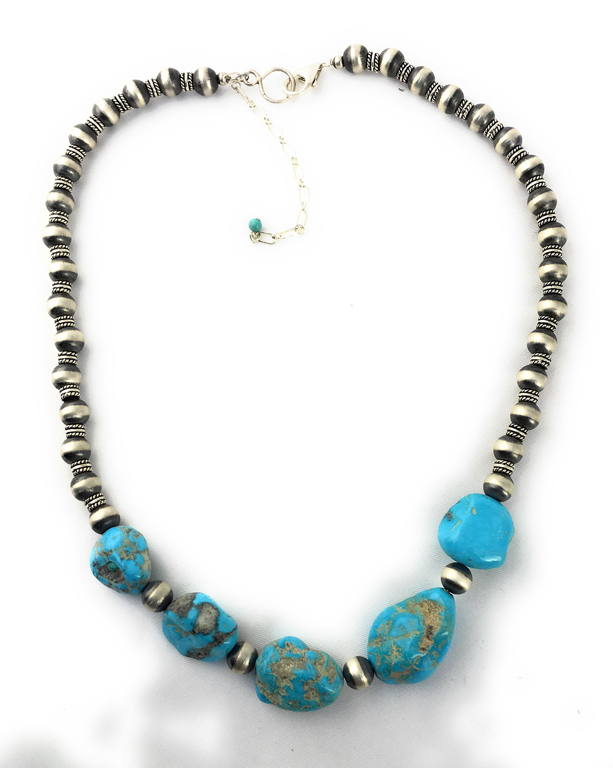 Masha Storewide Sale ! Sterling Silver Necklace By Sleeping Beauty Turquoise Nugget, Made in USA - Exclusive Southwestern Handmade Jewelry, Gift