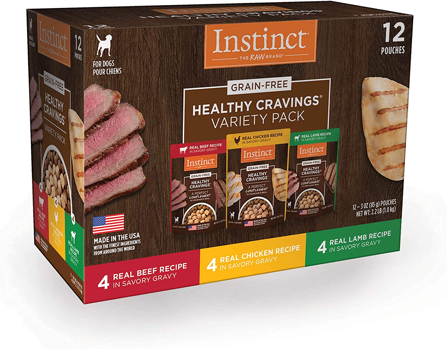 Instinct Healthy Cravings Grain Free Recipe Variety Pack Natural Wet Dog Food Topper by Nature's Variety, 3 oz. Pouches (Pack of 12)