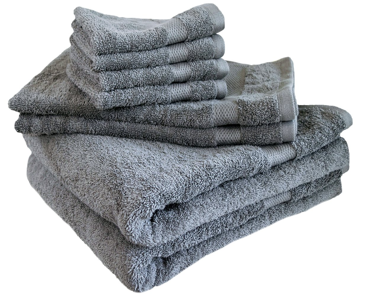 Cotton & Calm Exquisitely Plush and Soft 8 Piece Bath Towel Set, Grey - 2 Large Bath Towels, 2 Hand Towels, and 4 Washcloths - Spa and Hotel Quality, Super Absorbent Luxury Bathroom Towels