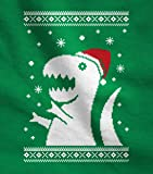 Big Trex Santa Ugly Christmas Sweater Style - Funny Long Sleeve Kids T-Shirt Small Green