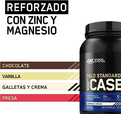 Optimum Nutrition Gold Standard Casein, Proteinas de Caseina en Polvo con BCAA Aminoacidos Esenciales, Zinc y Magnesio en Polvo, Galletas y Crema, 28 ...