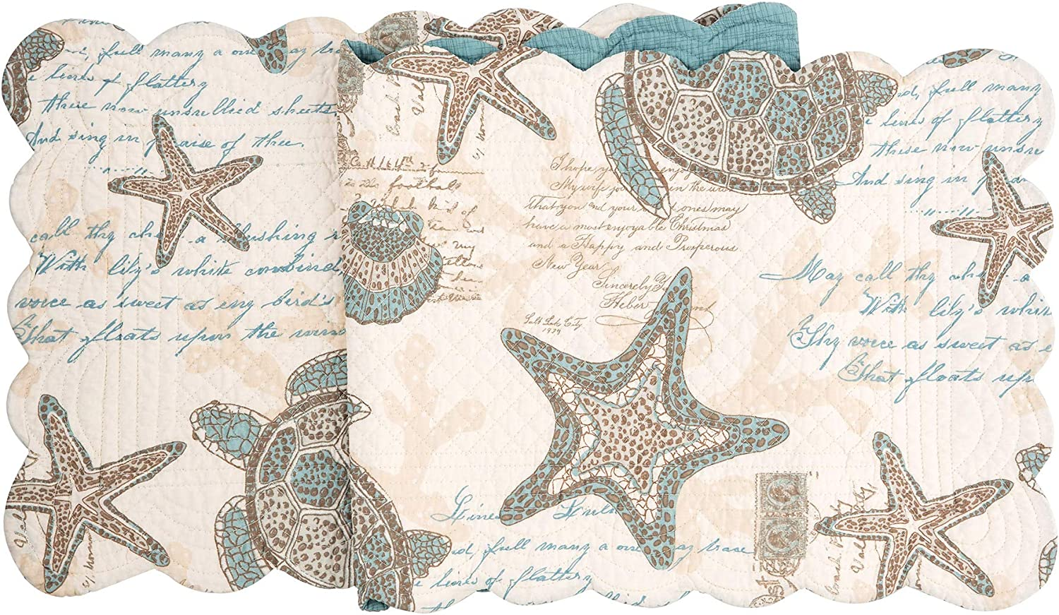 C&F Home Amber Sands Quilted Runner Reversible Cotton Nautical Coastal Sea Life Beach Tablelinen for Dinners Everyday Use Runner 14x51 Tan