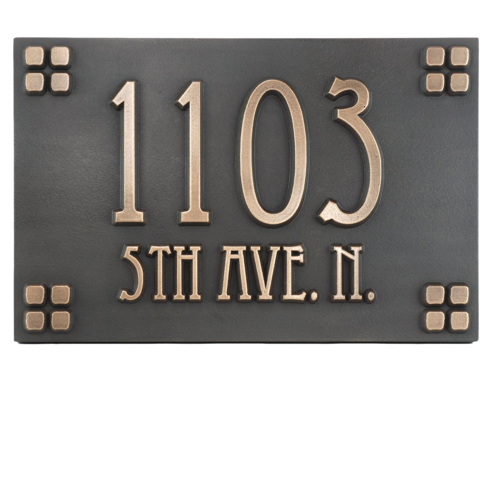 Mission Style Street Address Plaque Squares Only 12x8 - Raised Bronze Coated Home Plaque