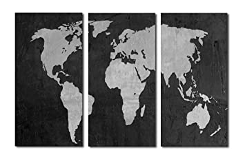 Amazon 36x24 black and white world map 3 panel split 36x24 black and white world map 3 panel split triptych canvas print gumiabroncs Image collections