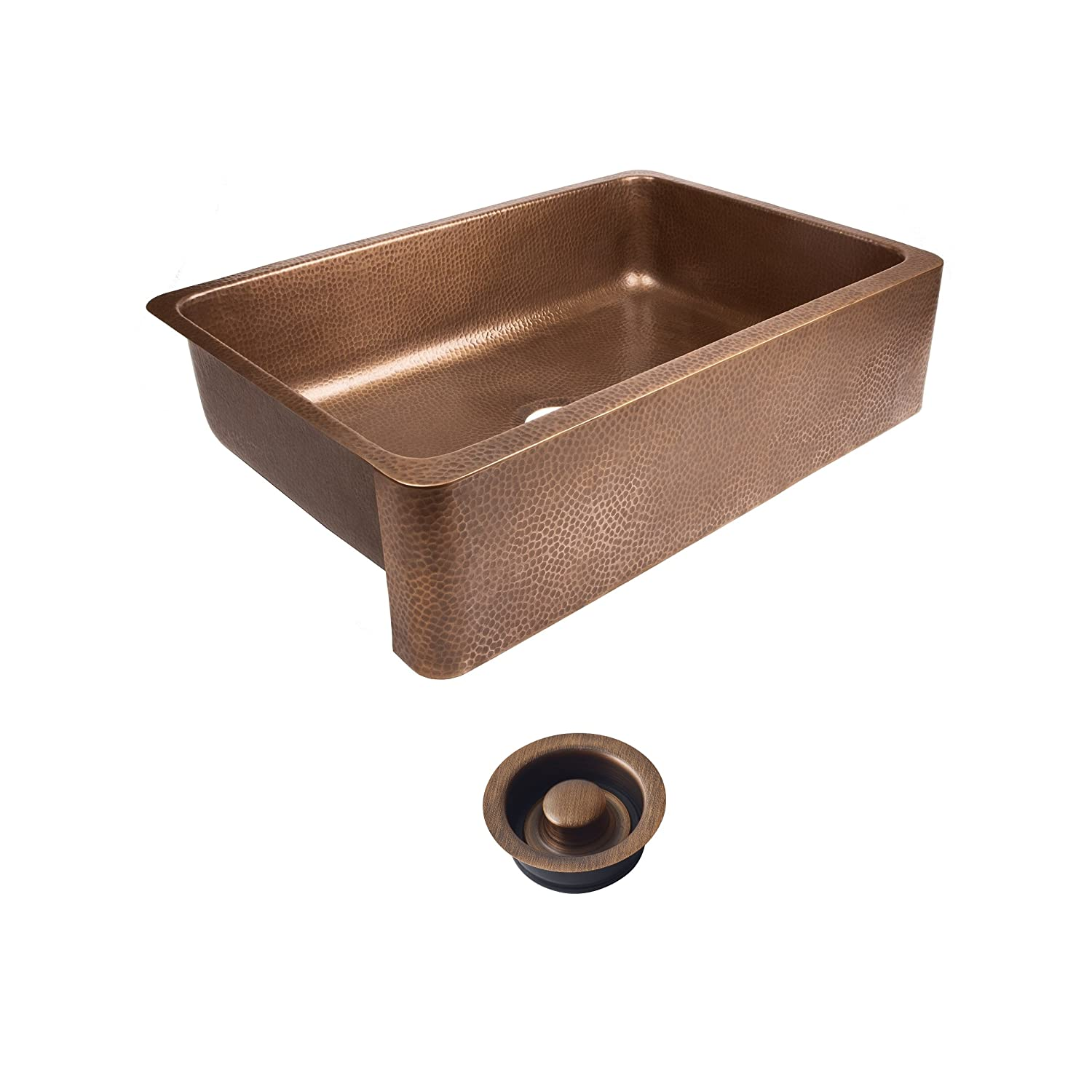 Sinkology SEK307-33-AMZ-D Lange Farmhouse Copper 32 in. Single Bowl Kitchen Sink and Disposal Drain Antique