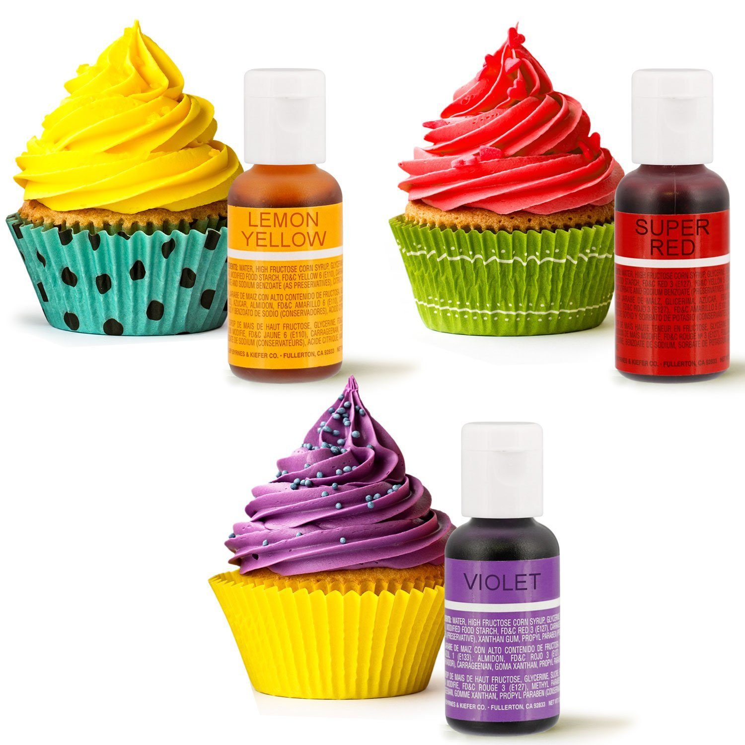Amazon.com : 12 Color Cake Food Coloring Liqua-Gel Decorating Baking ...