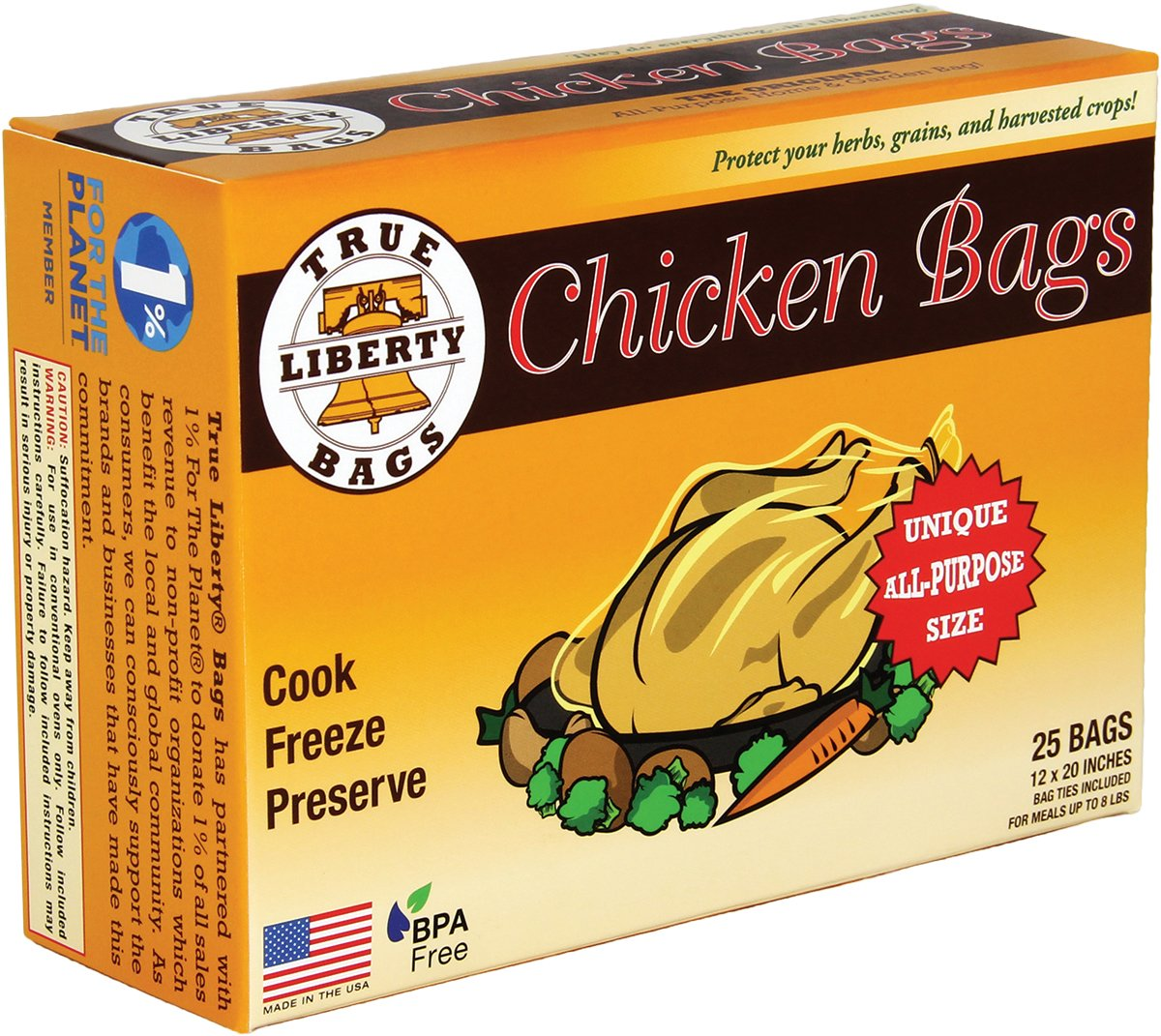 "True Liberty Bags- Chicken Bags- 25 Pack- All Purpose Home and Garden Bags- 12"" x 20""- Clear"