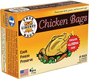 """True Liberty Bags- Chicken Bags- 25 Pack- All Purpose Home and Garden Bags- 12"""" x 20""""- Clear"""
