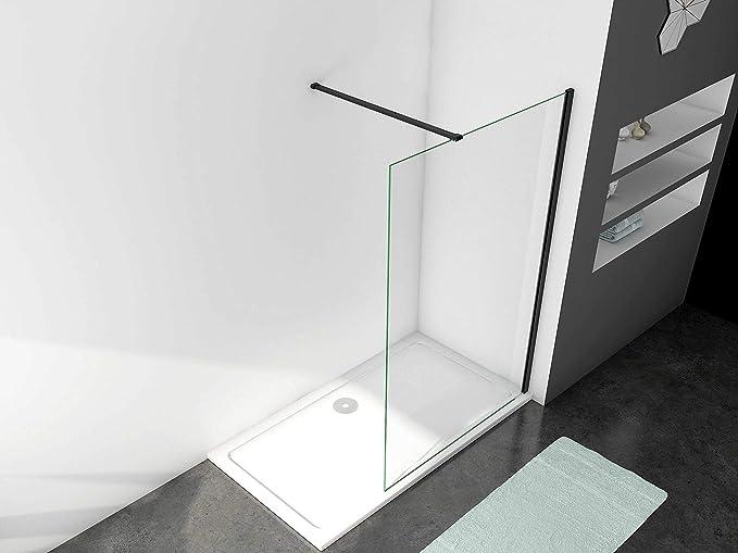 Mamparas de Ducha Pantalla Panel Fijo Perfil Negro Cristal Antical 8mm Barra 70-120cm - 120x200cm: Amazon.es: Bricolaje y herramientas