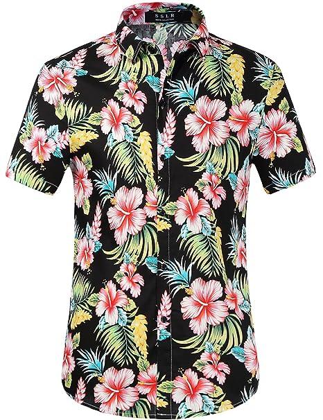 cdf337b622fa3 SSLR Camisas Manga Corta Hombre Casual Estampada Flores Ajustado   Amazon.es  Ropa y accesorios