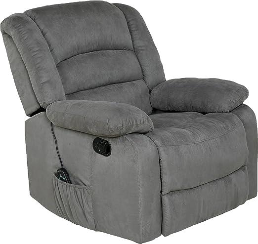Amazon Com Relaxzen Longstreet Rocker Recliner With Massage Heat And Dual Usb Ports Gray Furniture Decor