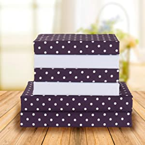 Elegant Comfort Luxury Soft Bed Sheets Polkadot Pattern 1500 Thread Count Percale Egyptian Quality Softness Wrinkle and Fade Resistant (6-Piece) Bedding Set, Full, Purple
