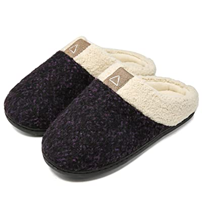 Amazon.com | Aimony Womens Slippers Memory Foam Comfort Fuzzy Plush Lining Slip On House Shoes Indoor Outdoor Anti-Skid Rubber Sole (5-6, Purple) | Slippers