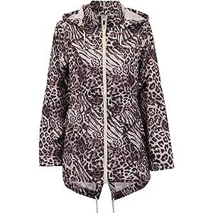 New Ladies Fishtail Parka Mac Raincoat Jacket Showerproof Hooded Coat 8-24