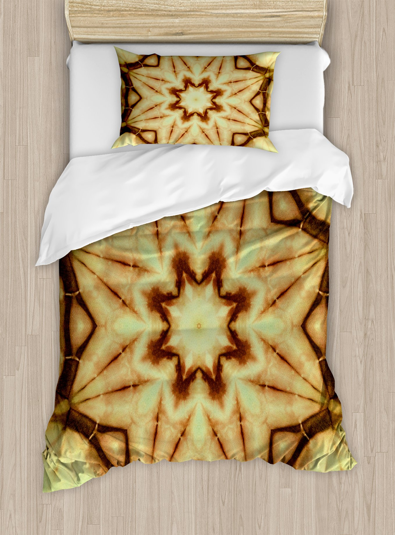 Ambesonne Mandala Duvet Cover Set Twin Size, Trippy Ethnic Thai Mandala Motif with Dirty Grunge Smear and Rough Stains Art, Decorative 2 Piece Bedding Set with 1 Pillow Sham, Mustard Brown by Ambesonne
