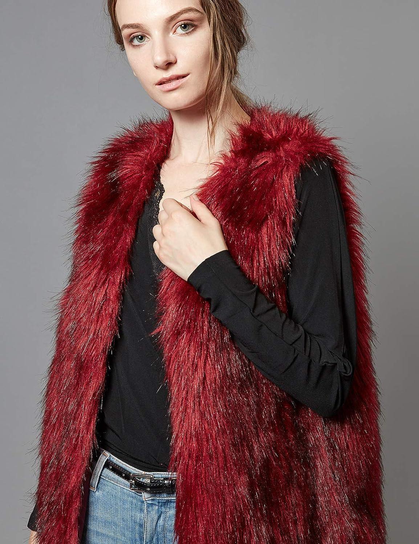 Escalier Women's Faux Fur Vest Waistcoat Sleeveless Jacket at  Women's Coats Shop