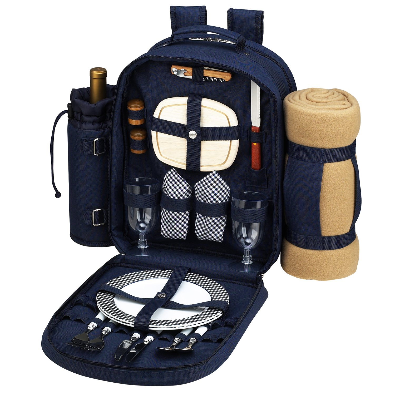 Picnic at Ascot - Deluxe Equipped 2 Person Picnic Backpack with Cooler, Insulated Wine Holder & Blanket - Navy