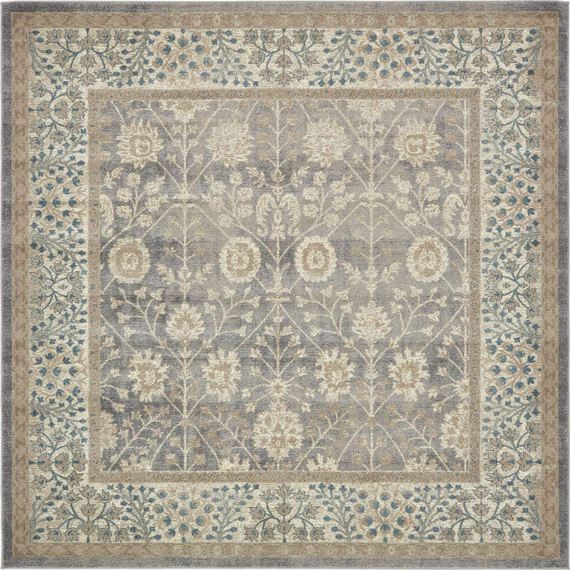 Unique Loom Salzburg Collection Traditional Oriental Gray Square Rug 8 0 x 8 0