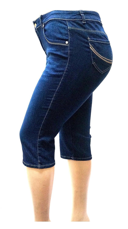 1826 Jeans David-K Women s Plus Size Stretch Premium Blue Denim Jeans Capri  Pants 22cf67961