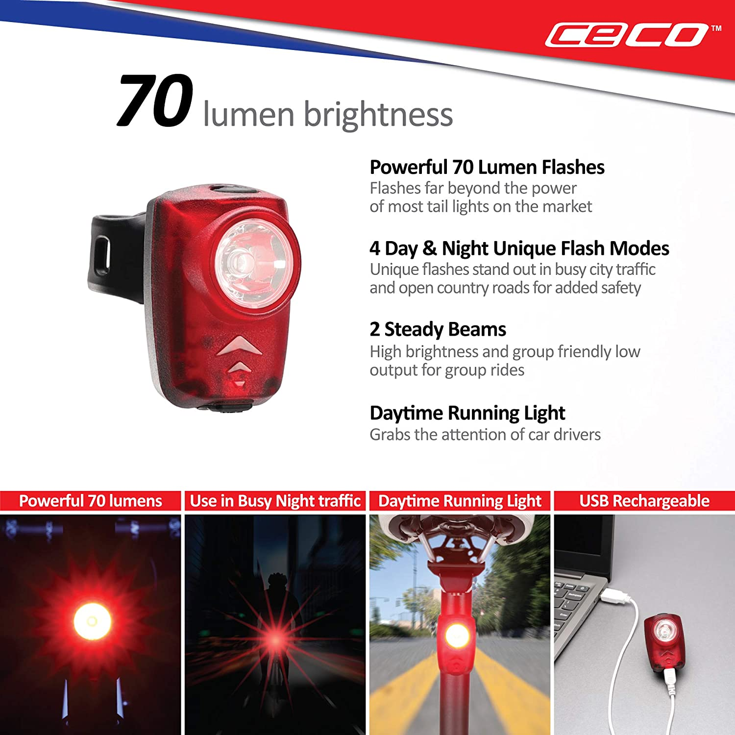 Super Bright Model T70 Bicycle Rear Light CECO-USA: 70 Lumen USB Rechargeable Bike Tail Light Pro Grade Quality Bike Tail Light Red Safety Light FL-1 Impact Resistant IP67 Waterproof