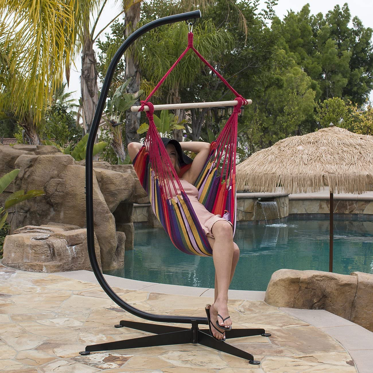 Greenstell Large Caribbean Hammock Hanging Chair with Swing Swivel and Hanging Kits,Frictionless 360 Rotation,Swing Chair 100 Soft-Spun Polyester,for Indoor,Outdoor,Home,Patio,Garden 48 Inch Blue