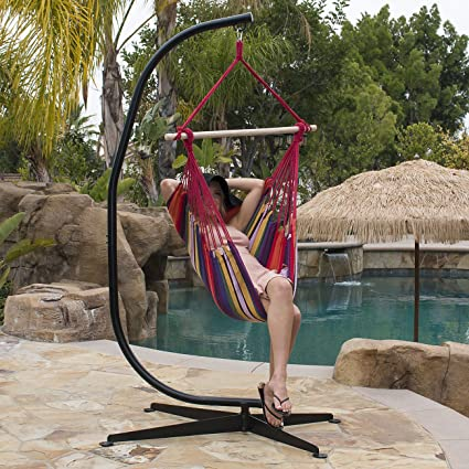 Amazoncom Belleze Hammock Chair With C Frame Stand Combo Hanging