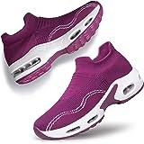 Alibress Women Slip on Walking Shoes - Mesh Air Cushion Platform Fashion Casual Loafers Sock Sneakers