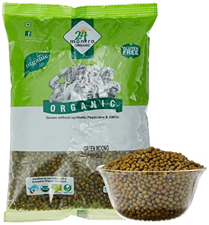 24 Mantra Organic Green Moong Whole, 500g