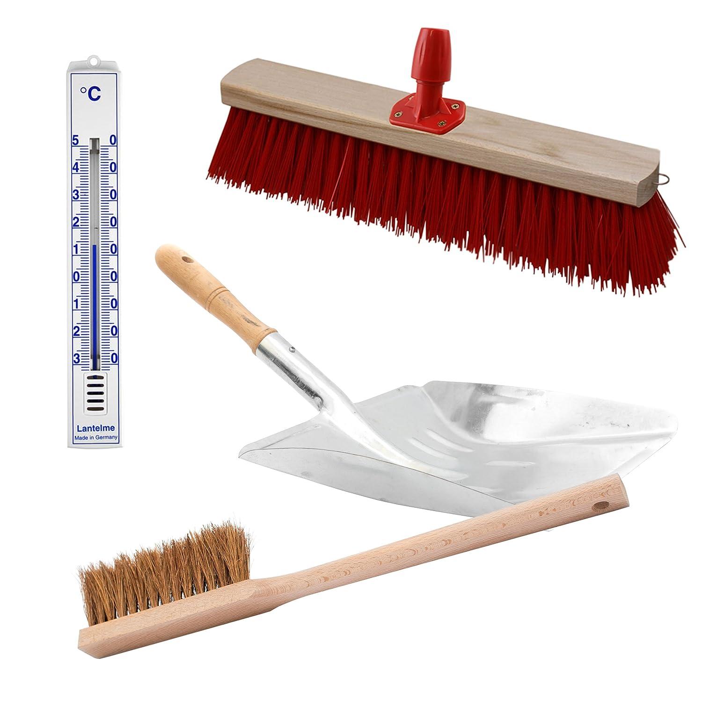 Komplett Straßenbesen , Handfeger , Schaufel , Stielhalter Set . 4 teilig mit Holz Besen , Metall Schaufel , Holz Hand Feger und Stiel Halter . Zusätzlich Analog Thermometer (SB711) Kunststoff weiß Lantelme