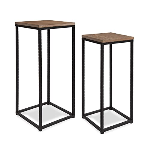 Kate and Laurel Torrance 2-Piece Rustic Modern Square Side Accent Table or Plant Stand Set with Black Metal Base and Natural Wood Top