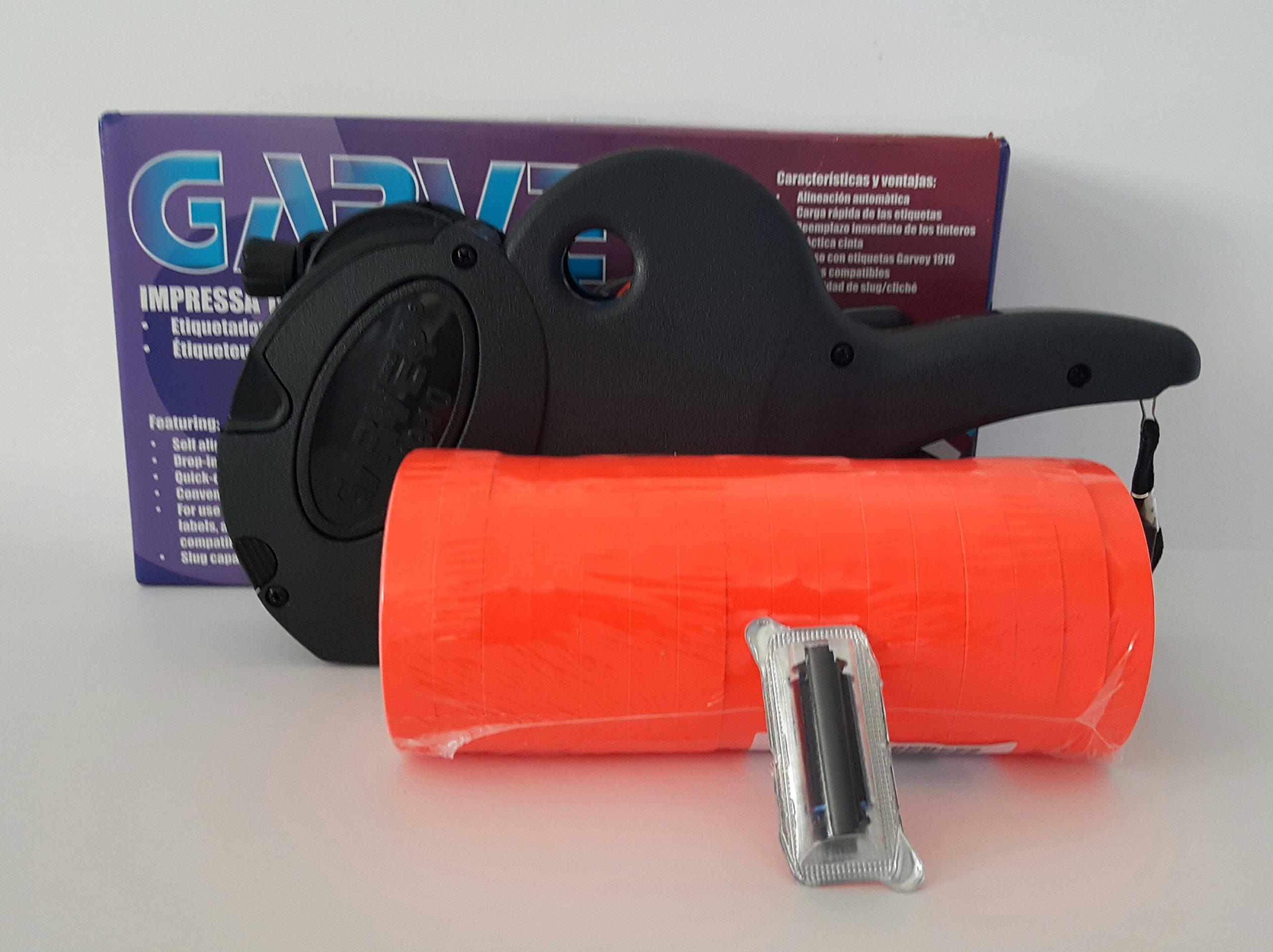 Garvey 1910 Price Gun Starter Kit ,1 Line ( 6 digit) Price gun, sleeve Fluro Red labels, 16 rolls, Ink Roller