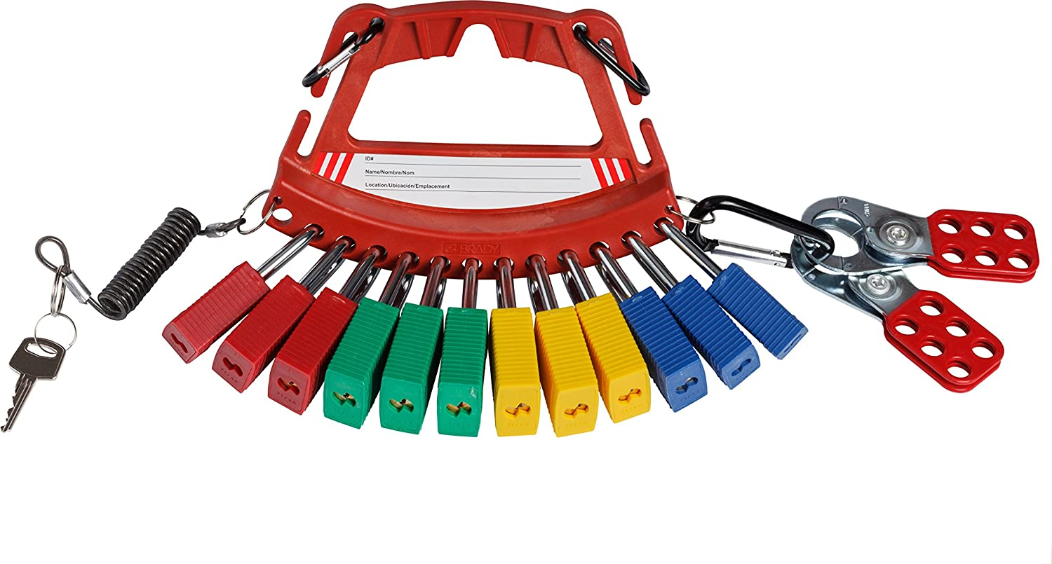 Keys Conveniently Organizes Locks Red Brady Safety Lock and Tag Carrier 148866 Hasps and More Tags