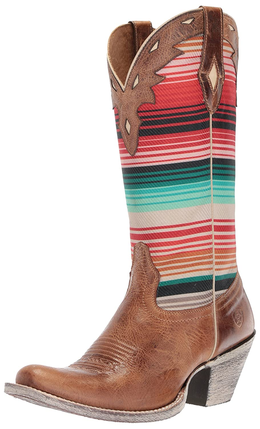 - Ariat Women's Women's Circuit Cheyenne Western Boot, Crackled Tan Southwestern Serape, 8.5 B US