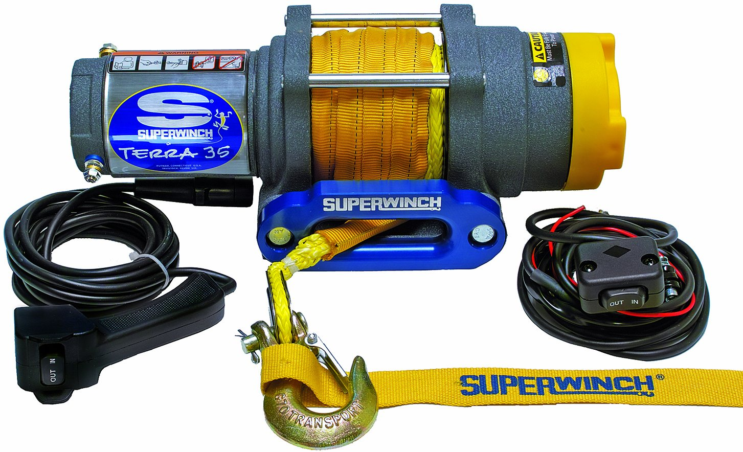 Superwinch 1135230 Terra 35 3500lbs/1591kg single line pull with hawse, handlebar mnt toggle, handheld remote, and synthetic rope by Superwinch