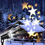 GAXmi Starry Star Christmas Light Dreamlike Star Projector LED Lights Waterproof Rotating Spotlight for Christmas Birthday Wedding New Year Party Outdoor/Indoor Landscape Decor Lamp -Warm White