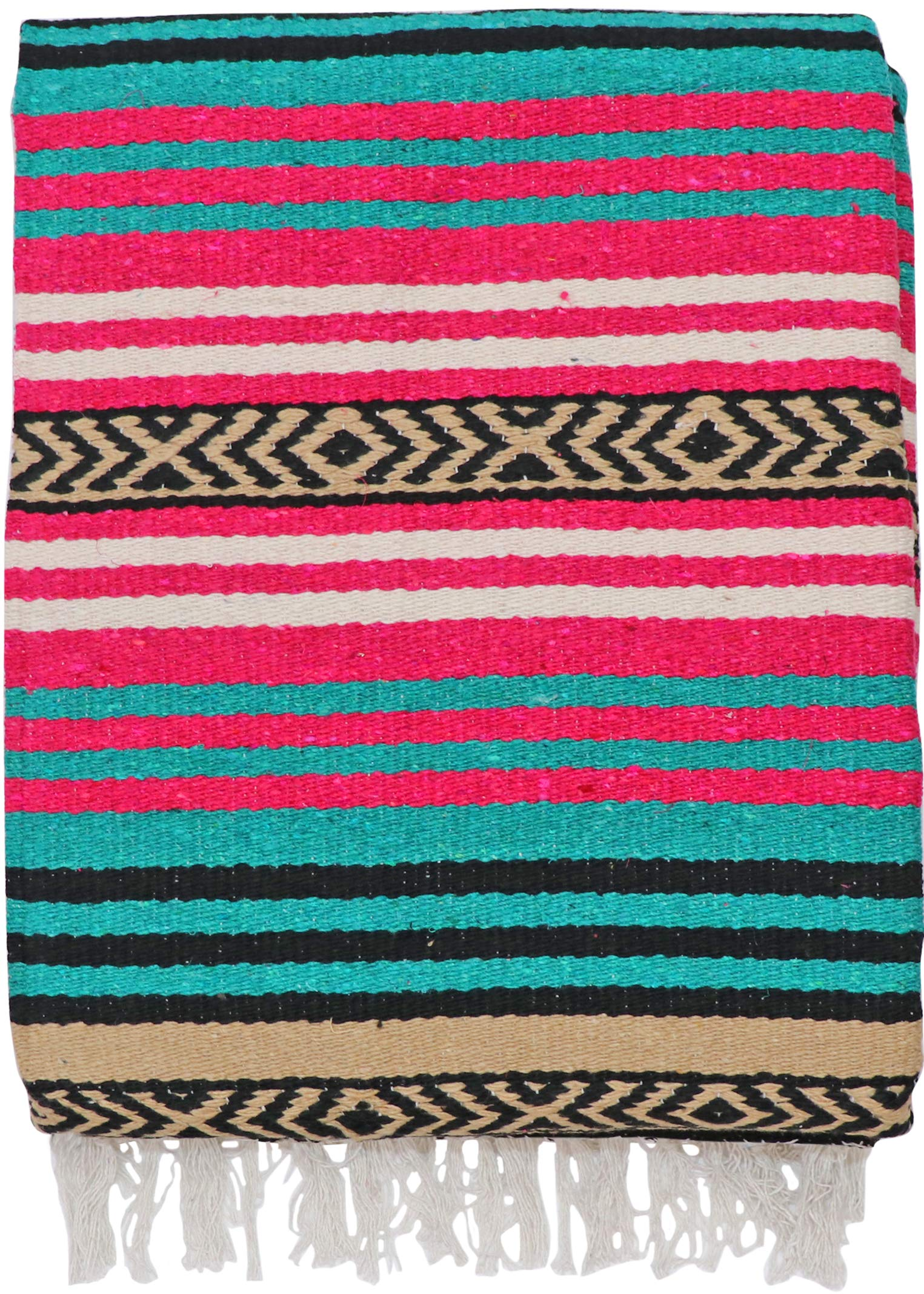 El Paso Designs Peyote Hippie Blanket Classic Mexican Style Falsa Stripe Pattern in Vivid Peyote Colors. Throw, Bed, Tapestry, or Yoga Blanket. Hand Woven Acrylic, 57'' x 74'' (Peyote 3)