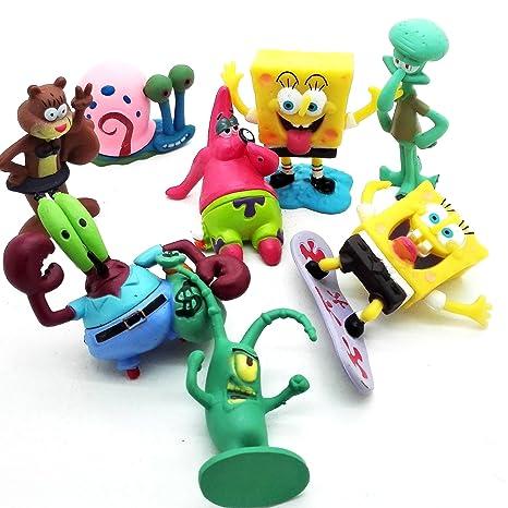 ONOGAL Bob Esponja Colección de 8 personajes figuras Spongebob Calamardo Patricio Señor Cangrejo Arenita Plancton y