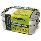 Stainless Steel Lunch Box by GRUB2GO + FREE BENTO IDEAS GUIDE | PREMIUM 3-Layer 1600 ML Bento Food Container