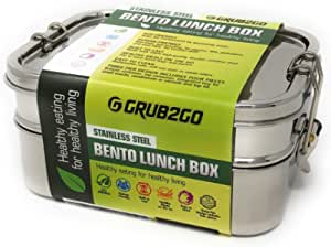 Stainless Steel 3-Layer Bento Lunch Box w/SECURLOCK Lids   LARGE 1600 ML Top-Grade Durable Stainless Steel   ECO-Safe & Healthy