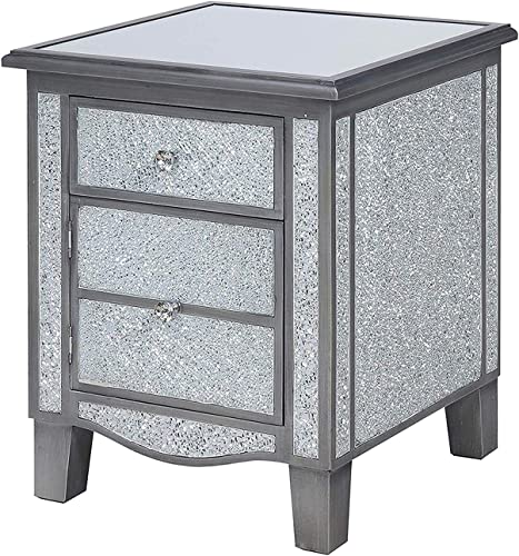 Convenience Concepts Gold Coast Park Lane Mirrored End Table, Silver Cracked Glass, Antique