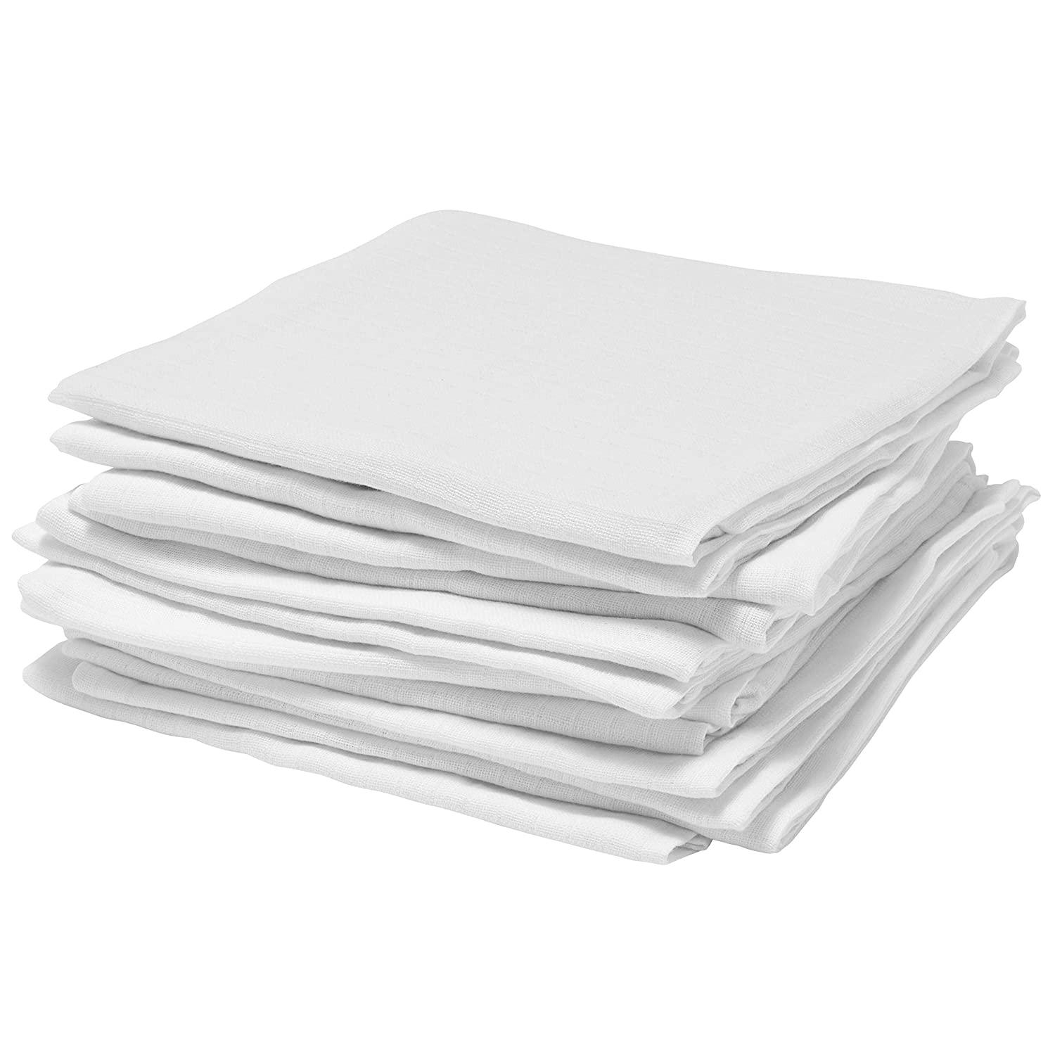 Bloomsbury Mill - High Quality 100% Cotton Muslin Squares - 70cm x 70cm - Pack of 12 - White