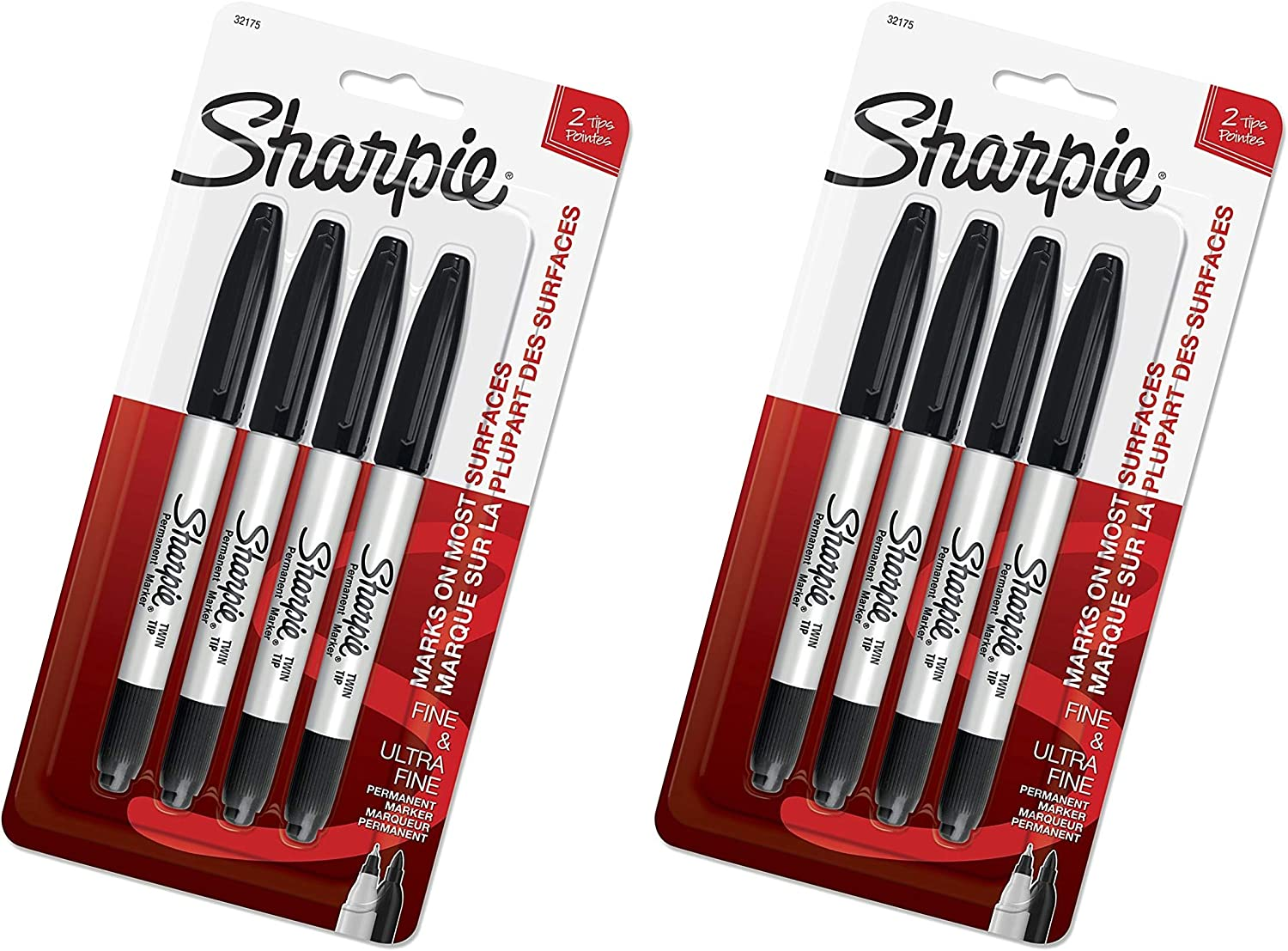 Twin Tip Permanent Markers, Fine & Ultra-Fine Points, Black, 4 Pack (32175PP) - 2 Pack