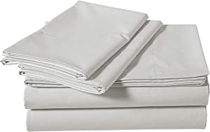 AmazonBasics Super-Soft Sateen 400 Thread Count Cotton Sheet Set - Twin, Steely Grey