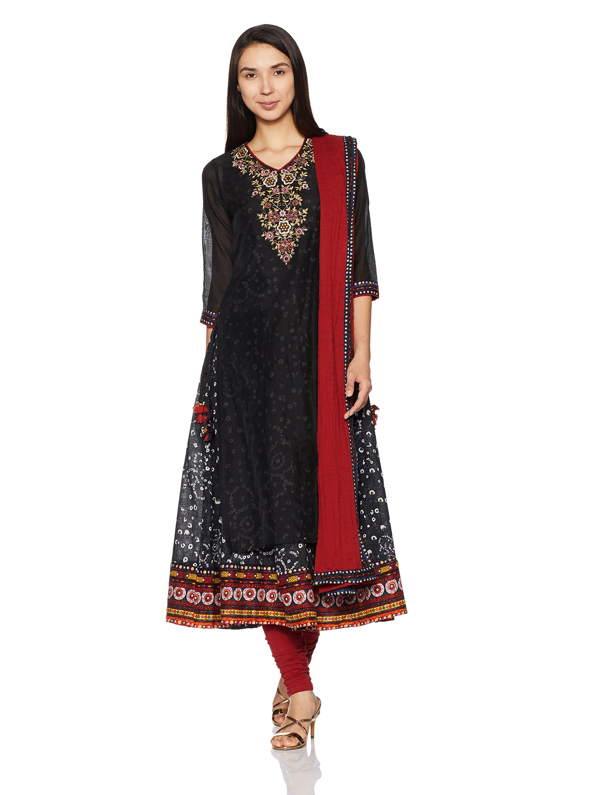 BIBA Women's Straight Poly Cotton Suit Set 34 Black