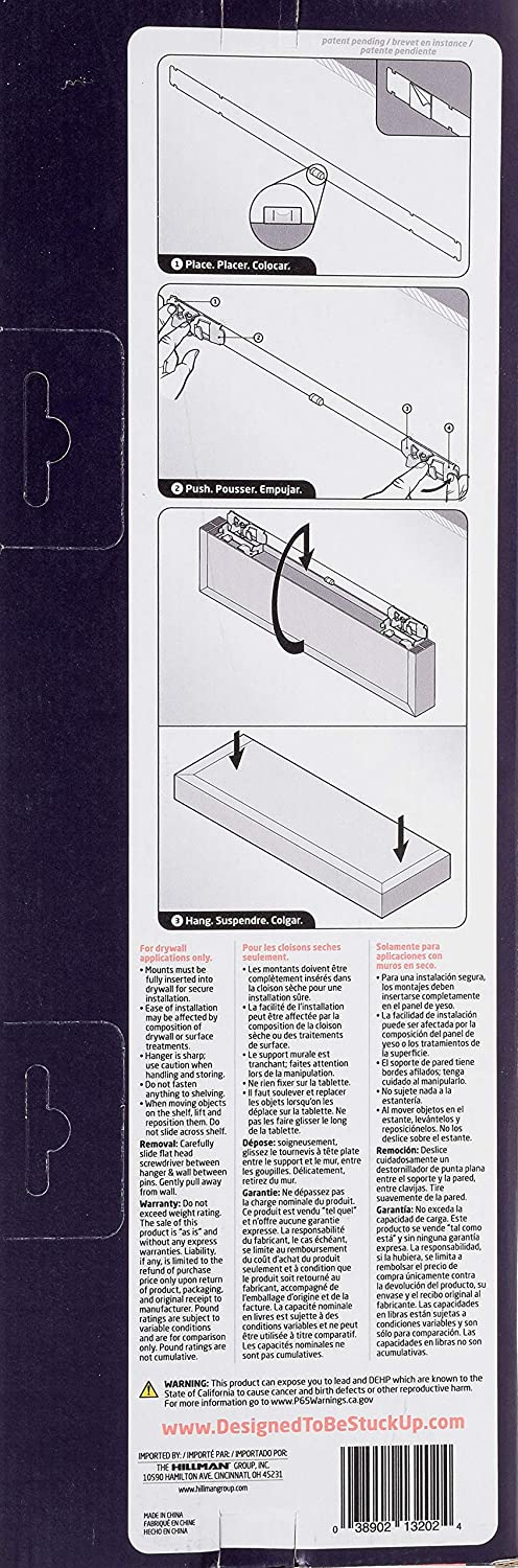 18 HIGH /& Mighty 515604 Beveled Modern Floating Shelf with Tool Free Installation White 18 Hillman Fasteners