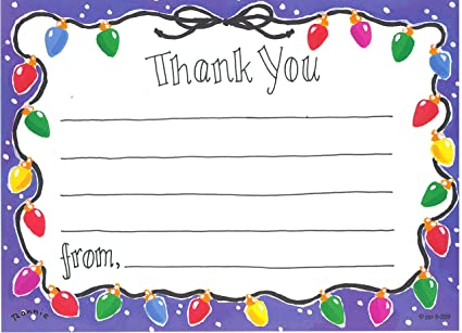 holiday lights christmas thank you cards fill in style 8 pack - Christmas Thank You Cards