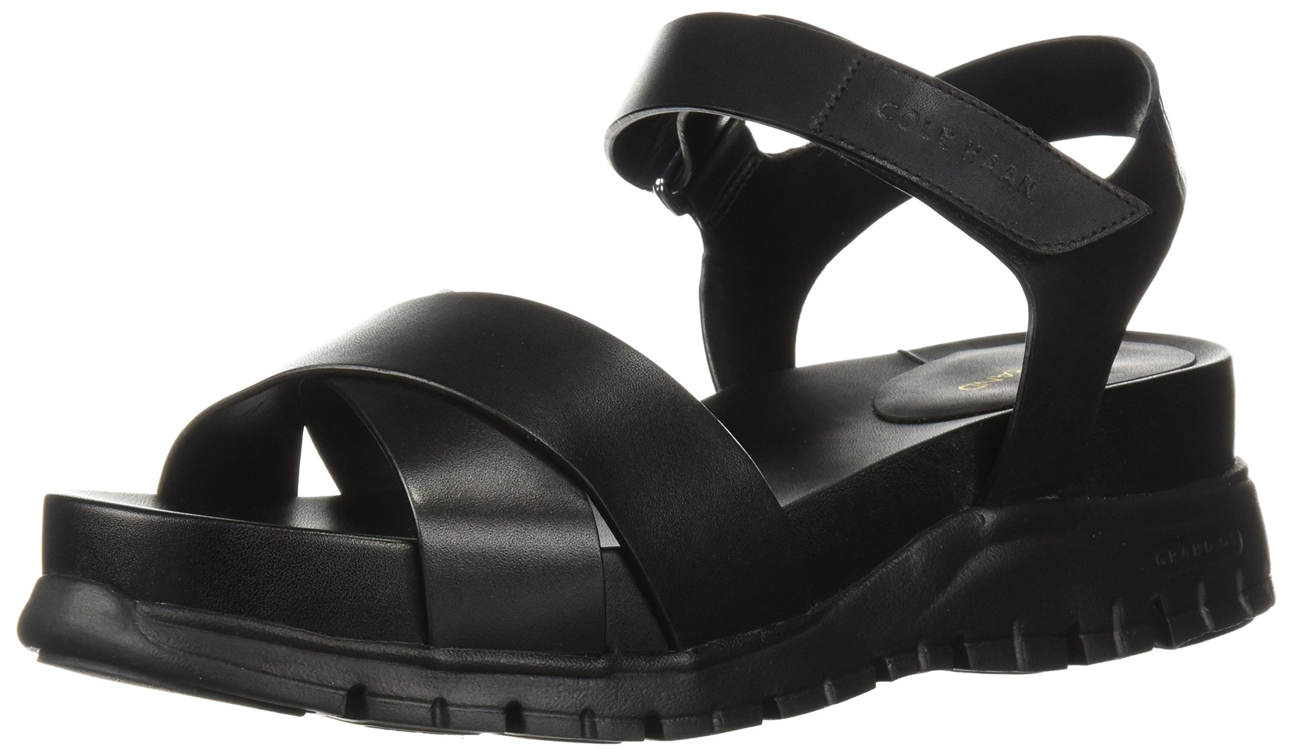 Cole Haan Women's Zerogrand II Flat Sandal, Black Leather, 6 B US